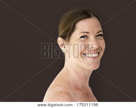Happiness woman bare chest topless smiling studio portrait poster