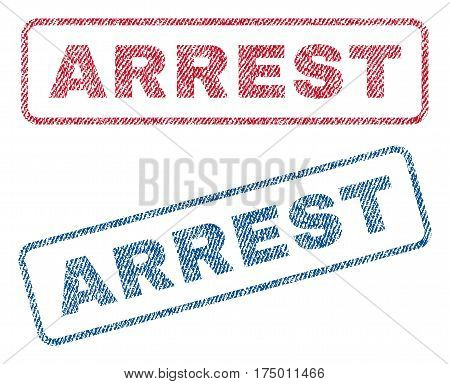 Arrest text textile seal stamp watermarks. Blue, red fabric vectorized texture. Vector caption inside rounded rectangular shape. Rubber sign with fiber textile structure.