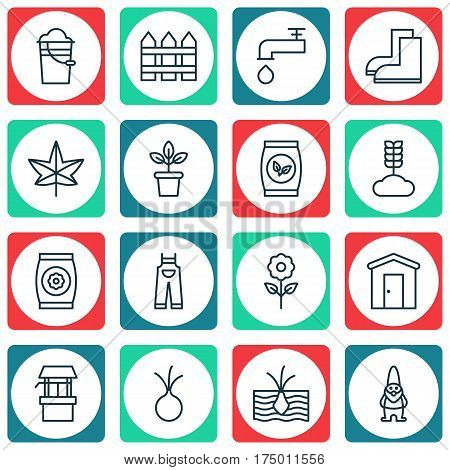 Set Of 16 Agriculture Icons. Includes Flowerpot, Cereal, Growing Plant And Other Symbols. Beautiful Design Elements.