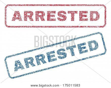 Arrested text textile seal stamp watermarks. Blue, red fabric vectorized texture. Vector tag inside rounded rectangular banner. Rubber sticker with fiber textile structure.