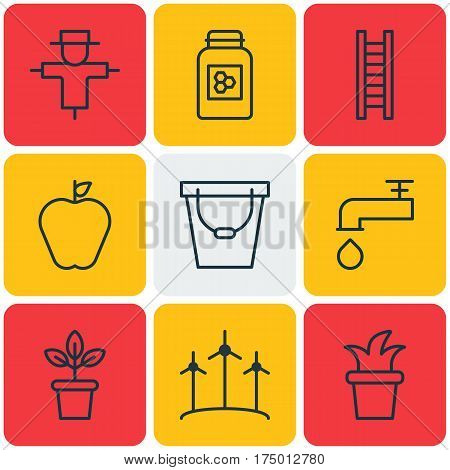 Set Of 9 Holticulture Icons. Includes Windmill, Bush Pot, Jar And Other Symbols. Beautiful Design Elements.