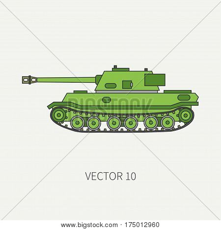 Line flat color vector icon infantry assault army tank. Military vehicle. Cartoon vintage style. Soldiers. Armored corps. Weaponry. Tractor unit. Tow. War. Simple. Illustration and element for design