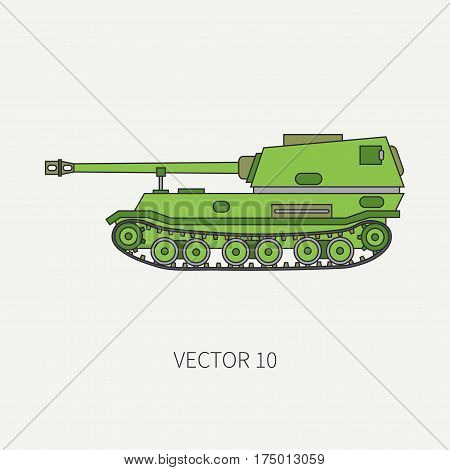 Line flat color vector icon self-propelled artillery army unit. Military vehicle. Cartoon vintage style. Soldiers. Armored corps. Weaponry. Tractor unit. Tow. War. Illustration and element for design