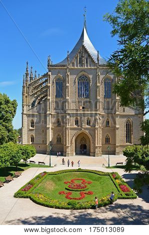 Front view on church of Saint Barbara a Roman Catholic church in the Gothic Style at Kutna Hora Czech Republic Europe
