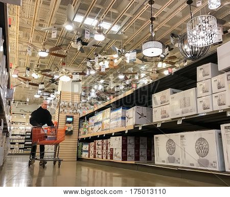 New York March 6 2017: A man is shopping in a Home Depot store.