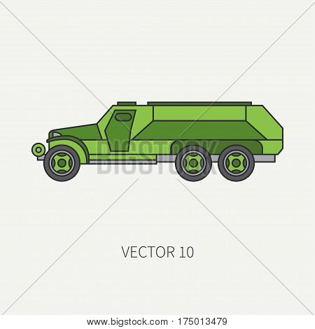 Line flat color vector icon infantry assault armored army truck. Military vehicle. Cartoon vintage style. Transport soldiers. Defended. Tractor unit. Tow. Simple. Illustration and element for design.