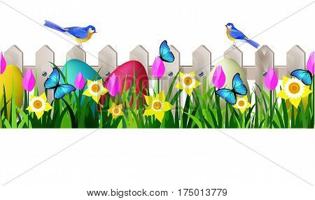 Green Grass and white wooden fance seamless isolated clip art vector on white with rose tulips and yellow daffodils and easter eggs and bluebirds