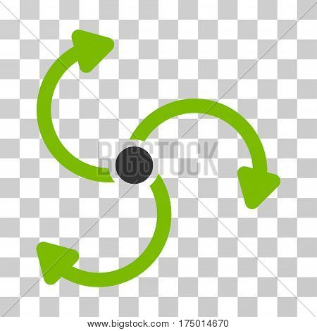 Fan Rotation icon. Vector illustration style is flat iconic bicolor symbol, eco green and gray colors, transparent background. Designed for web and software interfaces.