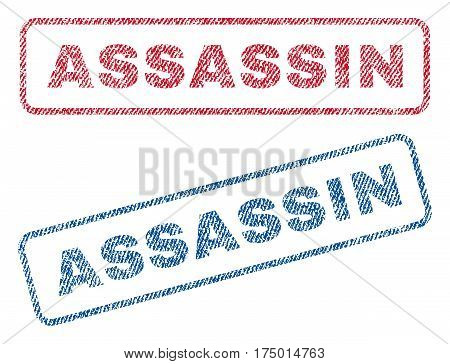 Assassin text textile seal stamp watermarks. Blue, red fabric vectorized texture. Vector tag inside rounded rectangular shape. Rubber emblem with fiber textile structure.