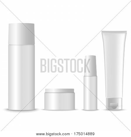 Collection of blank cosmetic preparations template vector eps 10