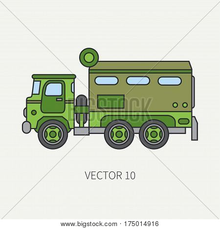 Line flat color vector icon armored wagon army truck. Military vehicle. Cartoon vintage style. Autonomous mobile command post. Tractor unit. Tow auto. War. Simple. Illustration and element for design.