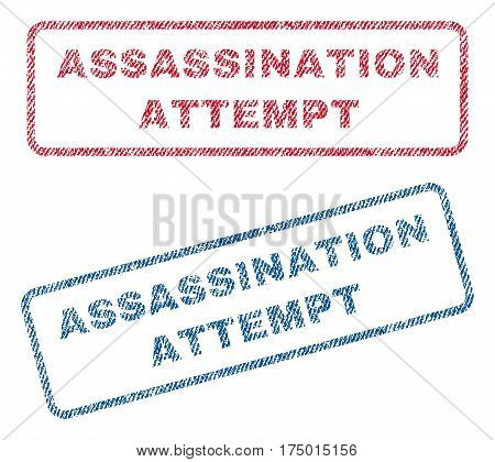 Assassination Attempt text textile seal stamp watermarks. Blue, red fabric vectorized texture. Vector tag inside rounded rectangular banner. Rubber sticker with fiber textile structure.