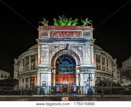 Night view of the Politeama Garibaldi theater in Palermo, Sicily, Italy. Modern Painting. Brushed artwork based on photo.