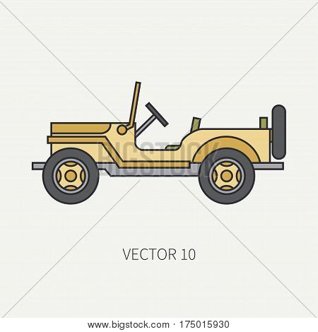 Line flat color vector icon service staff open body army car. Military vehicle. Cartoon vintage style. Cargo transportation. Tractor unit. Tow auto. Simple. Illustration and element for design. Road