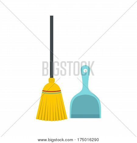 Broom and dustpan icon isolated on white background vector illustration