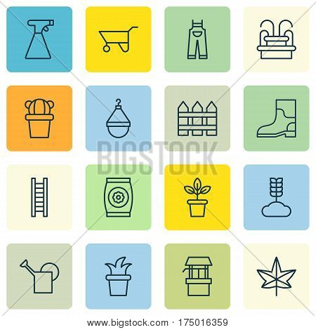 Set Of 16 Plant Icons. Includes Autumn Plant, Rubber Boot, Sprinkler And Other Symbols. Beautiful Design Elements.