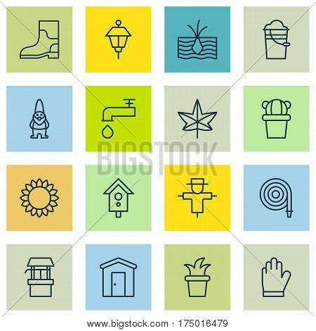 Set Of 16 Farm Icons. Includes Spigot, Protection Mitt, Desert Plant And Other Symbols. Beautiful Design Elements.