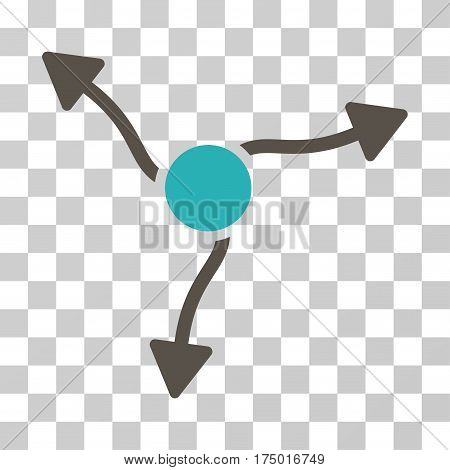 Curve Arrows icon. Vector illustration style is flat iconic bicolor symbol, grey and cyan colors, transparent background. Designed for web and software interfaces.