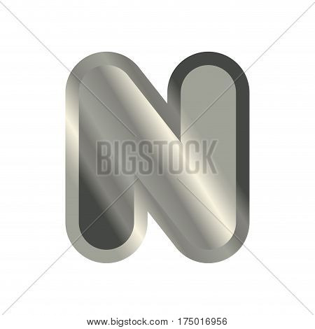 Letter N Steel Font. Metal Alphabet Sign. Iron Abc Symbol. Chromium Lettering. Silver Typography