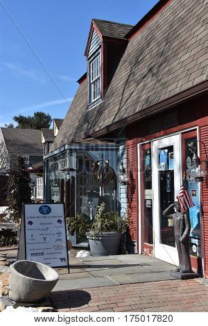 MYSTIC, CT - FEB 18: Olde Mistick Village in Mystic, Connecticut, as seen on Feb 18, 2017. The village houses a unique collection of specialty shoppes and restaurants.