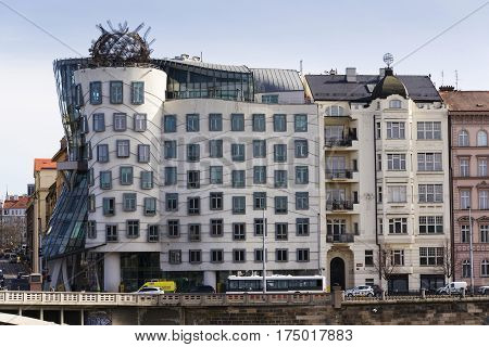 Prague, Czech Republic - March 3: The Dancing House, Nicknamed Fred And Ginger, Completed In 1996 Fo