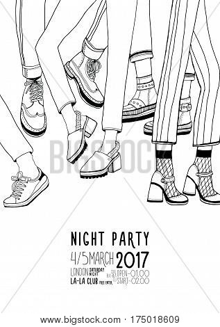 Dance, event, festival vector Illustration placard. Night party hand drawn contour poster with dancing legs.
