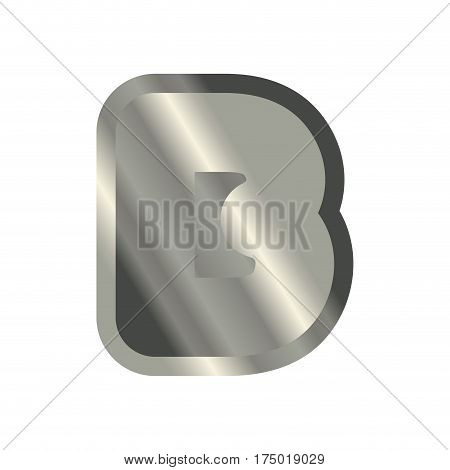 Letter B Steel Font. Metal Alphabet Sign. Iron Abc Symbol. Chromium Lettering. Silver Typography