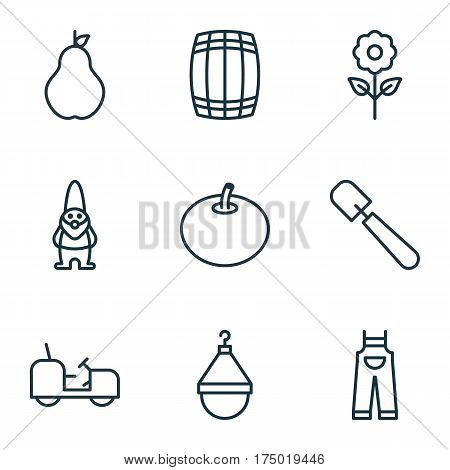 Set Of 9 Agriculture Icons. Includes Decorative Plant, Dwarf, Radish And Other Symbols. Beautiful Design Elements.