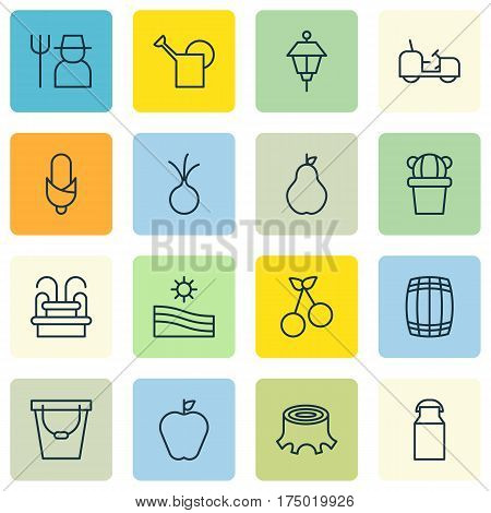 Set Of 16 Plant Icons. Includes Taste Apple, Meadow, Agrimotor And Other Symbols. Beautiful Design Elements.
