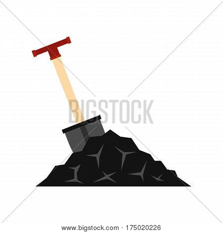 Shovel in coal icon in flat style isolated on white background vector illustration