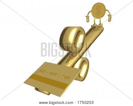Dollar And Credit-Card On Weights. 3D Image.