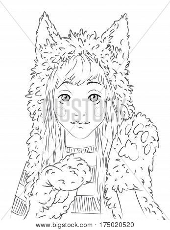 Portrait of a cute girl in animal hat. Young woman with long hair in striped pullover, cat hat and paw gloves. Hi sign. Vector illustration in hand drawn sketch style for your design, website and prints.