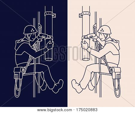 Industrial climber in uniform and helmet mends drainpipe. Professional worker doing his risky work. Man working at height. Rope Access. Vector illustration. Two variants icon in line style for your design.