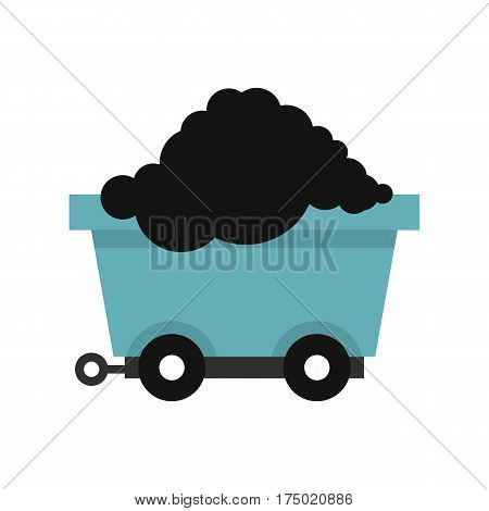 Cart on wheels with coal icon in flat style isolated on white background vector illustration