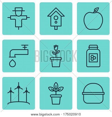 Set Of 9 Holticulture Icons. Includes Windmill, Birdhouse, Spigot And Other Symbols. Beautiful Design Elements.