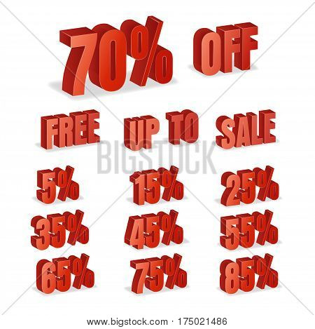 Discount Numbers 3d Vector. Red Sale Percentage Icon Set In 3D Style Isolated On White Background. Free, Off