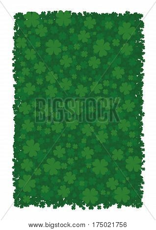 Vector background for St. Patrick's Day, green clover leaves, four leafed clover, bringing good luck.