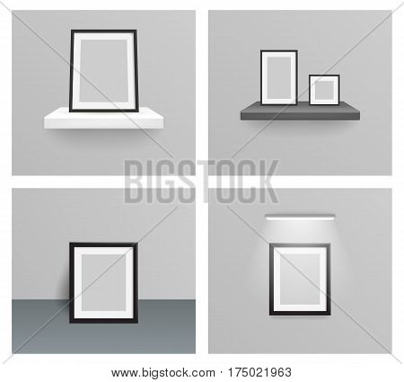 Photo frame realistic design 3d hanging shelf wall flor light on a wall with vector illustration