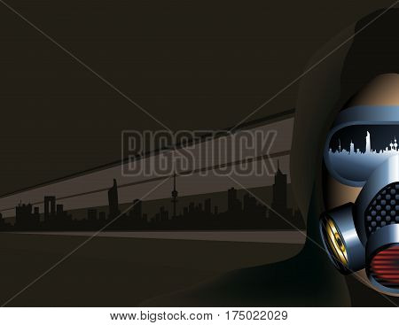 Urban Scene Man Wearing A Pollution Mask