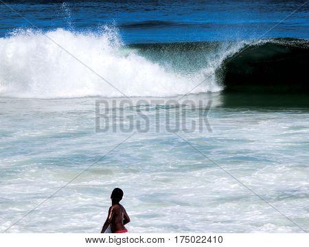 Wave in the Ocean and View of Copacabana Beach Rio de Janeiro