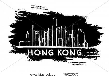 Hong Kong Skyline Silhouette. Hand Drawn Sketch. Business Travel and Tourism Concept with Modern Architecture. Image for Presentation Banner Placard and Web Site.