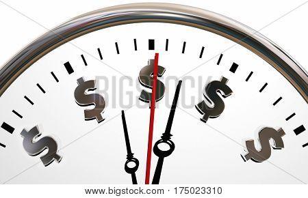 Dollar Signs Clock Time is Money Symbols 3d Illustration