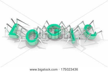 Logic Artificial Intelligence AI Bots Spiders Word 3d Illustration