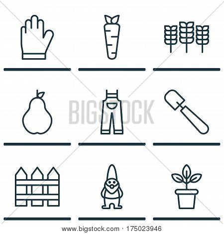 Set Of 9 Gardening Icons. Includes Protection Mitt, Barrier, Flowerpot And Other Symbols. Beautiful Design Elements.