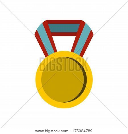 Round medal icon in flat style isolated on white background vector illustration