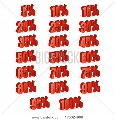 Discount Numbers 3d Vector. Red Sale Percentage Icon Set In 3D Style Isolated On White Background. 10 percent off, 15 off and 20 percent off discount