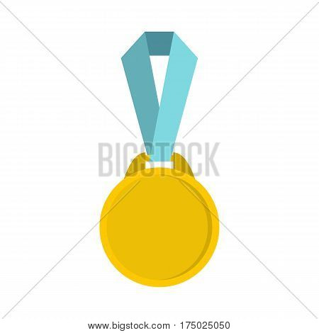 Round medal with ribbon icon in flat style isolated on white background vector illustration