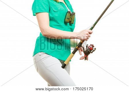 Woman With Fishing Rod, Spinning Equipment