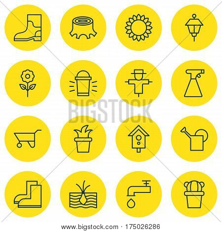 Set Of 16 Garden Icons. Includes Wheelbarrow, Growing Plant, Spigot And Other Symbols. Beautiful Design Elements.