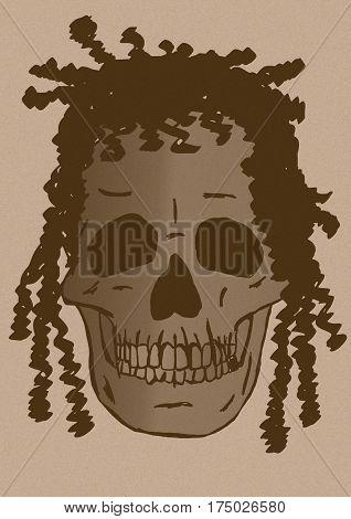 Rasta skull vintage image as isolated icon